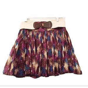 CANDIE'S Sz 5 Cute Boho Mini Skirt Belted & Lined